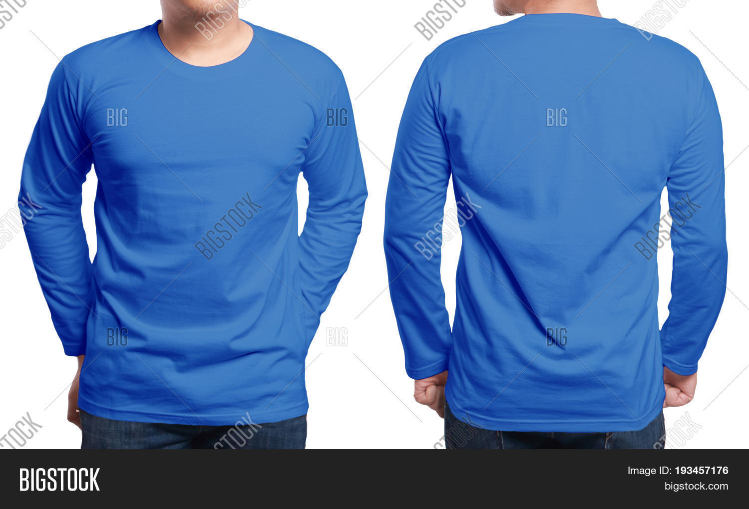 Blue Long Sleeved T Image Photo Free Trial Bigstock