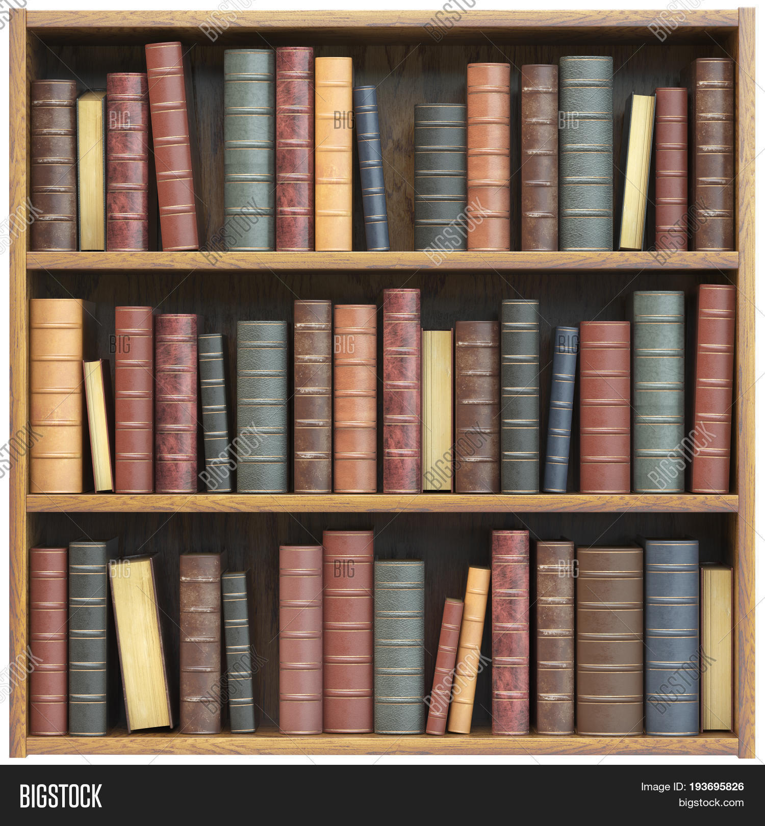 Bookshelf with old books isolated on white