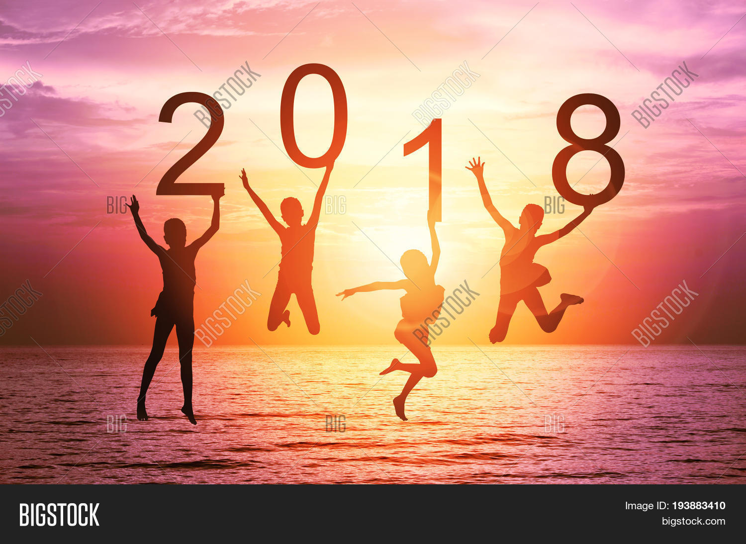 happy new year card 2018 silhouette of children girl is jumping on tropical beach with