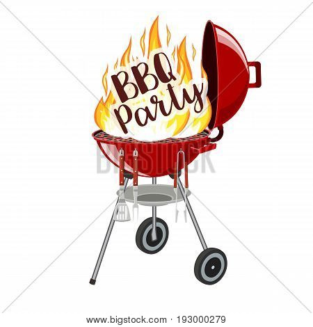 BBQ party banner grill with fire isolated on white. Barbecue Party Poster. Vector illustration in flat style