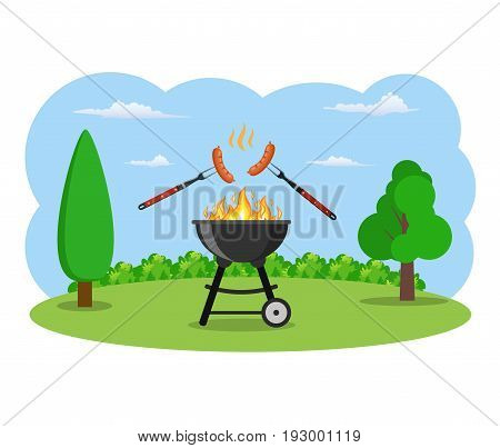 barbecue grill and kitchen utensils. Grilled sausages on forks on the background of the natural landscape. vector illustration in flat style