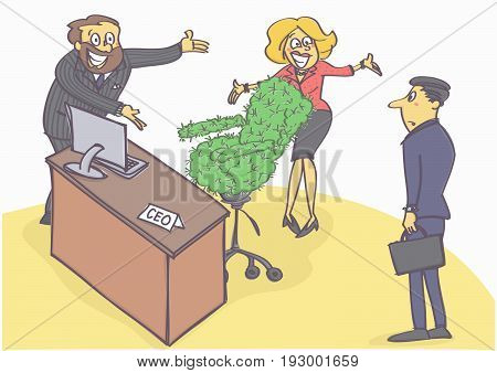 Funny cartoon illustration with two managers welcoming new chief executive with cactus chair.