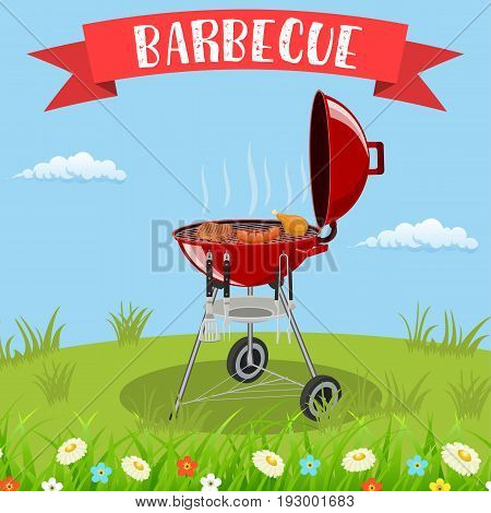 barbecue grill and kitchen utensils. vector illustration in flat style
