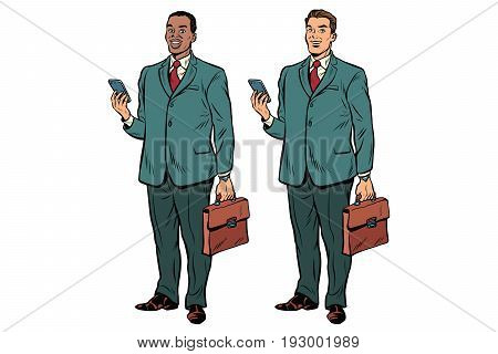 Two fat businessmen African American and Caucasian. Man with phone and briefcase in a business suit. Pop art retro vector illustration