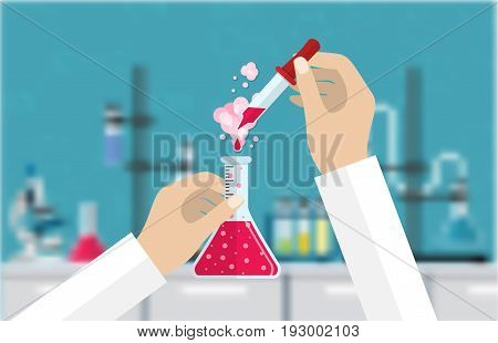 Science Experiment in laboratory. Lboratory equipment, jars, beakers, flasks, microscope, spirit lamp. Biology science education medical vector illustration in flat style