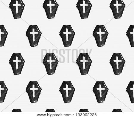 Monochrome seamless pattern with dark hand drawn coffins on a light background