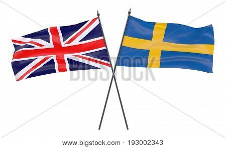 Great Britain and Sweden, two crossed flags isolated on white background. 3d image
