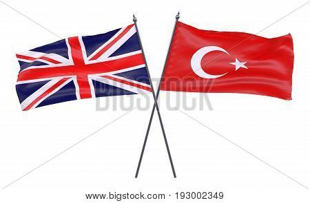 Great Britain and Turkey, two crossed flags isolated on white background. 3d image