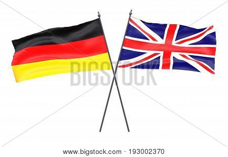 Great Britain and Germany, two crossed flags isolated on white background. 3d image