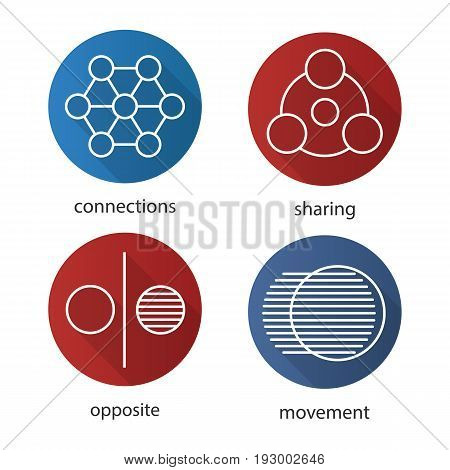Abstract symbols flat linear long shadow icons set. Sharing, connections, opposite, movement concepts. Vector outline illustration
