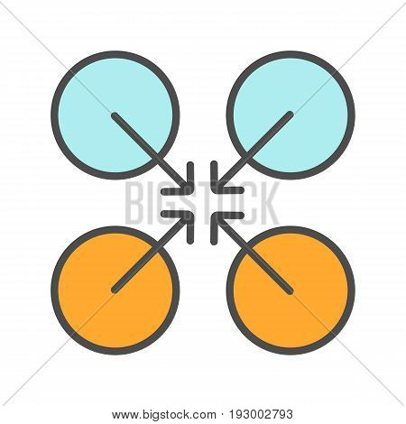 Cooperative symbol color icon. Cooperation and teamwork abstract metaphor. Isolated vector illustration