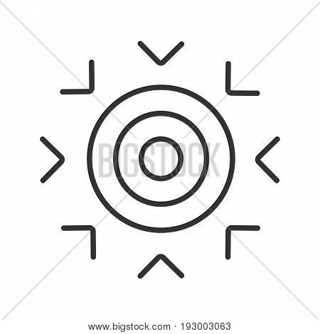Goal symbol linear icon. Thin line illustration. Purpose abstract metaphor contour symbol. Vector isolated outline drawing