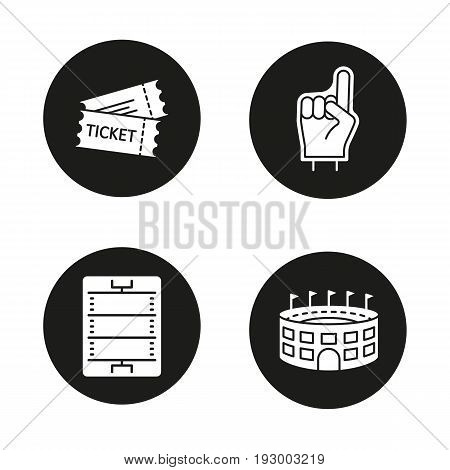 American football glyph icons set. Fans foam finger, game tickets, baseball arena, field scheme. Vector white silhouettes illustrations in black circles