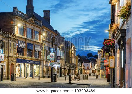 Winchester, UK. 25th June 2017. The streets of Winchester City centre are quiet at the end of the day on a warm Sunday evening.