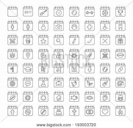 Calendars linear icons set. Holidays and special days. Calendar pages with sport balls, doctor, plane, handshake, man and woman. Thin line contour symbols. Isolated vector outline illustrations