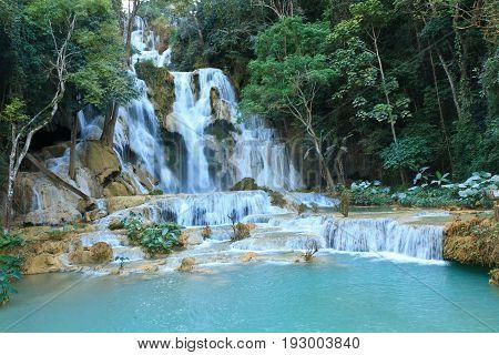 Kuang Si Waterfall deep in the rain forest - Luang prabang, Laos