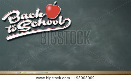 A blank green chalkboard with stylized 3d script lettering and an apple; Back to school conceptual theme.