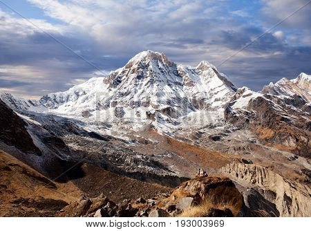 Panorama of mount Annapurna - view from Annapurna Base Camp in the Nepal Himalaya