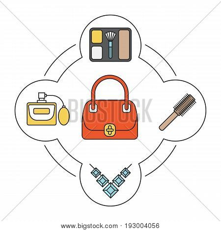 Woman's handbag contents color icons set. Blusher, necklace, hair brush, perfume. Isolated vector illustrations