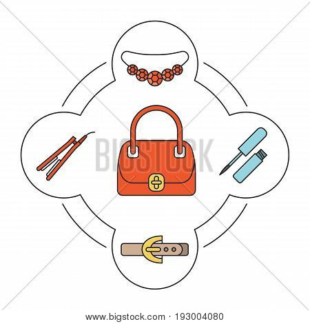 Woman's handbag contents color icons set. Gemstone necklace, lip gloss, leather belt, hair straightener. Isolated vector illustrations