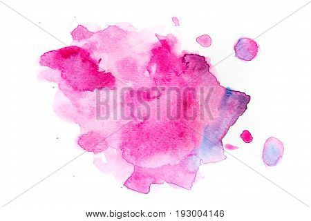 Abstract watercolor pink stain with splash. Isolated on white background. Perfect for your text or design.