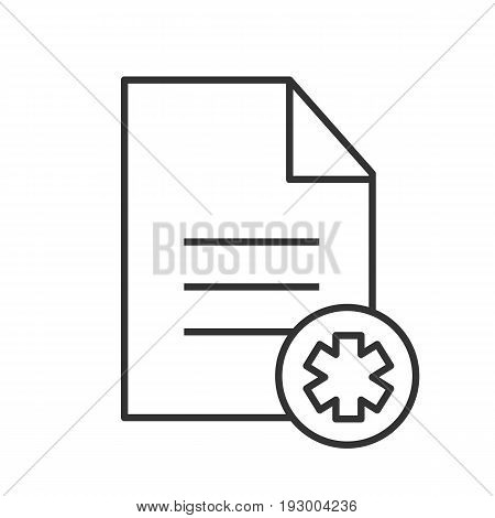 Patient card linear icon. Thin line illustration. Text file with star of life. Medical insurance contour symbol. Vector isolated outline drawing