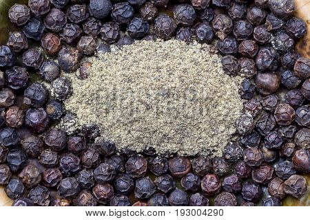 black peppercorns and black pepper powder on ceramic plate.