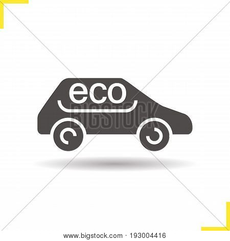 Eco car glyph icon. Drop shadow silhouette symbol. Eco friendly automobile. Negative space. Vector isolated illustration