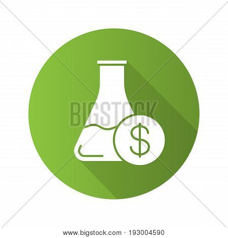 Research price flat design long shadow glyph icon. Chemical lab beaker with dollar sign. Vector silhouette illustration