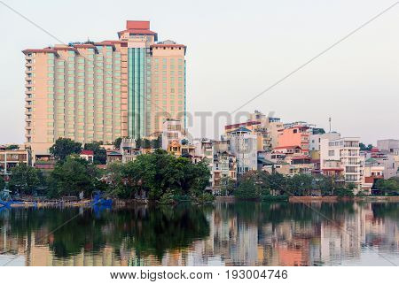 Lake Truc Bach Lake In The Center Of The Capital Of Vietnam Hanoi