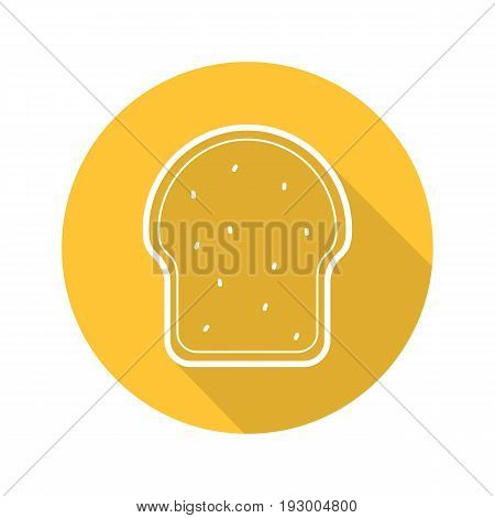 Toasted bread flat linear long shadow icon. Sandwich toast. Vector outline symbol