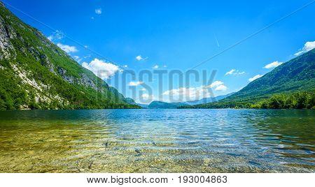 Amazing Beautiful Lake Bohinj In Slovenia View From Ukanc.