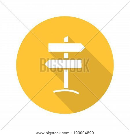 Signpost flat design long shadow glyph icon. Wooden way direction signpost. Vector silhouette illustration