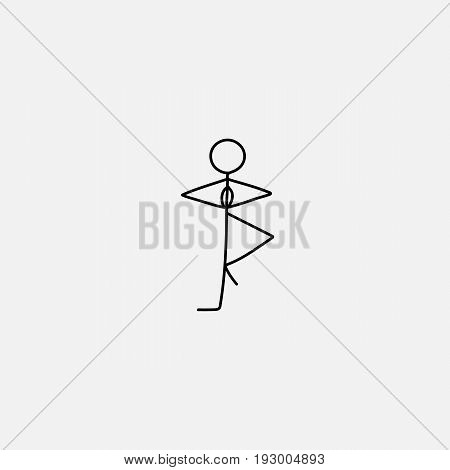 Stick figure man vector standing on a leg and concentrate