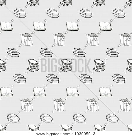 Seamless vector doodle pattern with books. Library hand drawn sketchy background. Reading and education concept. Black and white