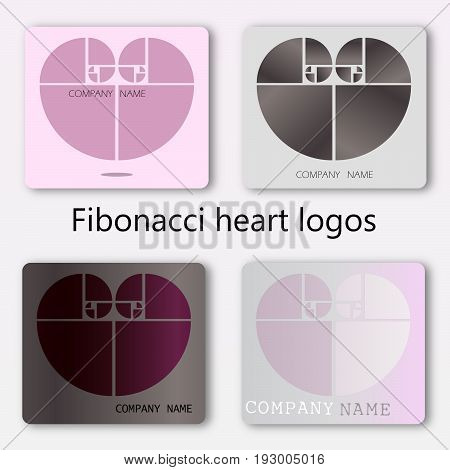 A set of four ideas of business identity, perhaps for health care. Hearts made out of the Fibonacci spiral, EPS 8 file
