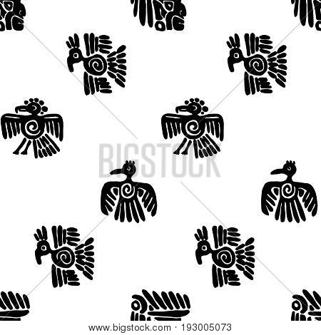 Seamless vector maya pattern. Black and white ethnic elements. Tribal doodles ornament. Abstract ancient symbols birds