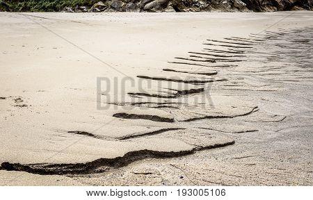 Inflow Of Fresh Water Into Ocean On Sandy Beach.