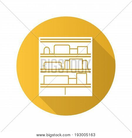 Shop shelves flat design long shadow glyph icon. Supermarket stand with goods. Vector silhouette illustration
