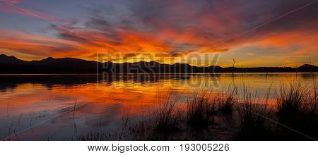 Lake Moogerah In Queensland With Beautiful Clouds At Sunset.