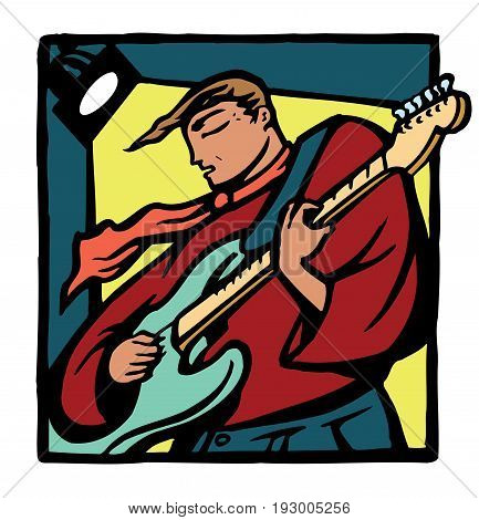 An electric guitarist wearing a scarf playing under stage spotlights. Rendered in a color linocut style.