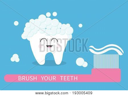 Tooth icon. Brush your teeth. Big toothbrush with toothpaste bubble foam. Cute funny cartoon smiling character. Oral dental hygiene. Health care. Baby background. Flat design. Vector illustration