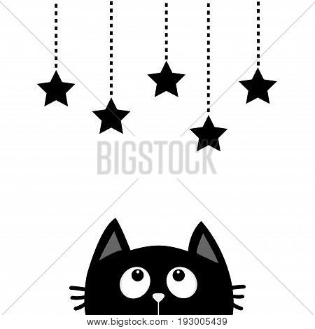 Black cat looking up to hanging stars. Dash line star shape set. Cute cartoon character. Valentines Day. Kawaii animal. Love Greeting card. Flat White background. Isolated. Vector illustration