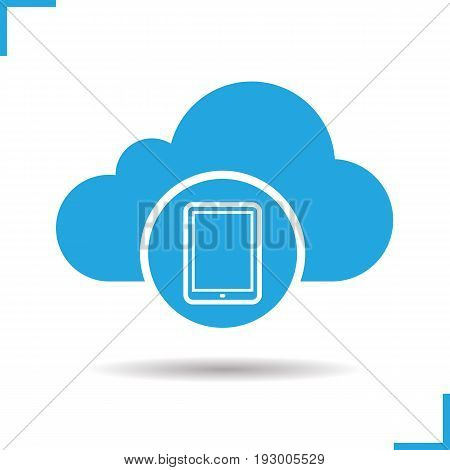 Cloud storage tablet computer icon. Drop shadow silhouette symbol. Cloud computing. Negative space. Vector isolated illustration