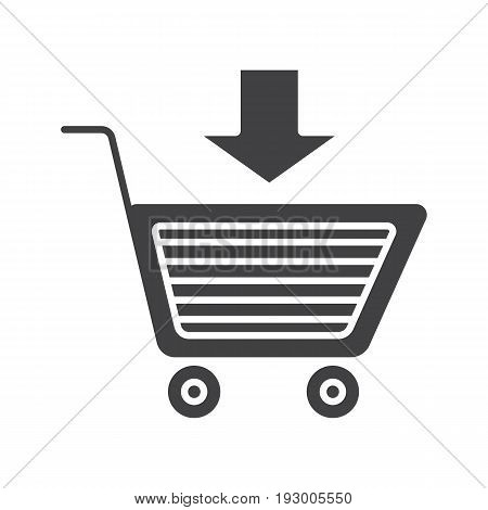Add to cart glyph icon. Buy silhouette symbol with down arrow. Negative space. Vector isolated illustration