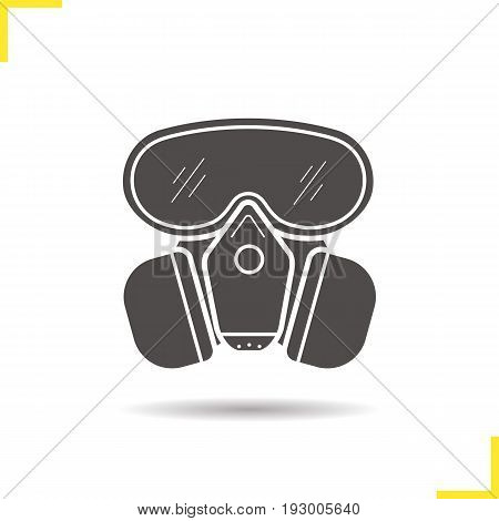 Gas mask glyph icon. Drop shadow silhouette symbol. Chemical lab protective mask. Negative space. Vector isolated illustration