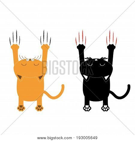 Cartoon black and orange cat set. Back view. Red bloody claws animal scratch scrape track. Cute funny character with face. White background. Isolated. Flat design. Vector illustration