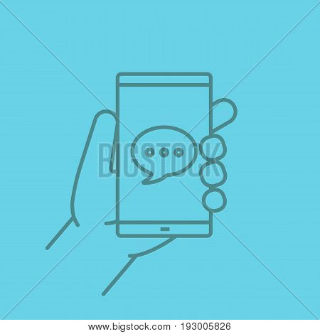 Hand holding smartphone color linear icon. Smart phone with chat box. Thin line contour symbols on color background. Vector illustration