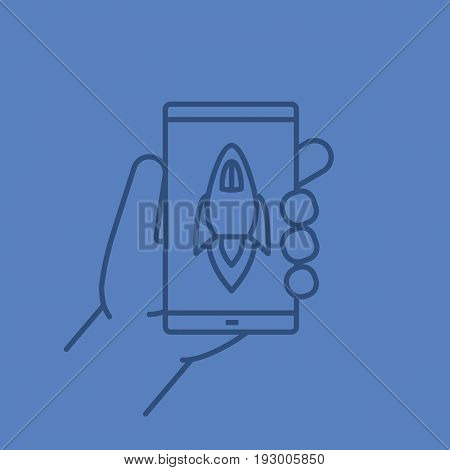 Hand holding smartphone color linear icon. Smart phone boost app. Thin line outline symbols on color background. Vector illustration