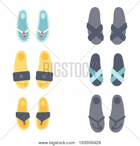 Flip flops design vector illustration graphic beach casual footwear slipper beauty relax shoe clothing. Foot-gear shoes summer time boots.